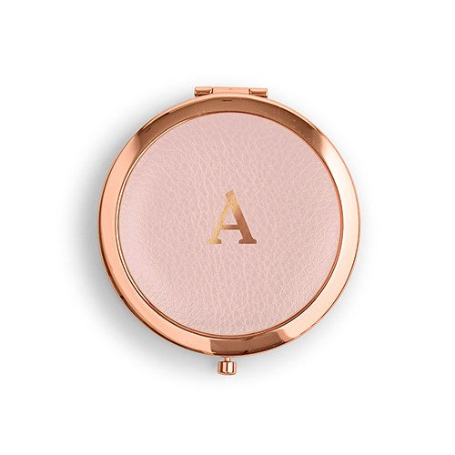 Monogram Initial Faux Leather Compact Mirror