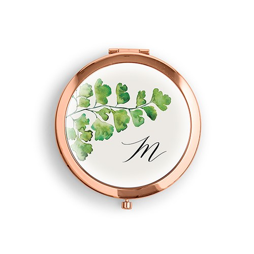 Monogram Greenery Personalized Compact Mirror