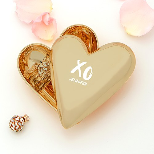 XO Gold Heart Jewelry Box
