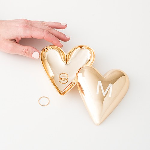 Initial Gold Heart Jewelry Box