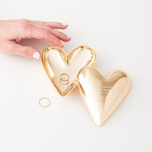 Custom Gold Heart Jewelry Box