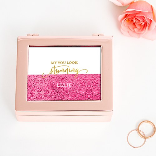 Glitter Foil Personalized Metal Jewelry Box