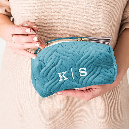 Quilted Velvet Personalized Makeup Bag