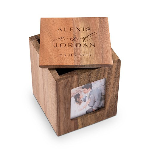 Modern Couple Wooden Keepsake Box with Frame