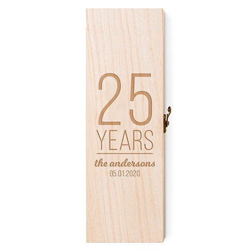 'Years' Wooden Wine Gift Box with Lid
