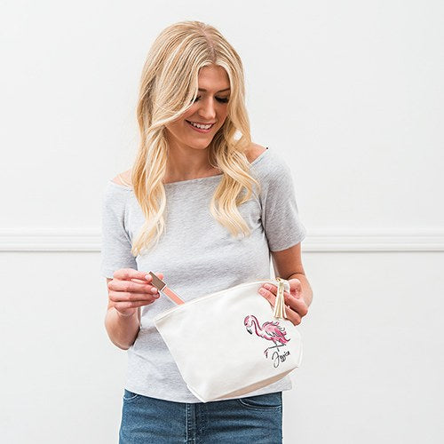 Flamingo Canvas Makeup Bag