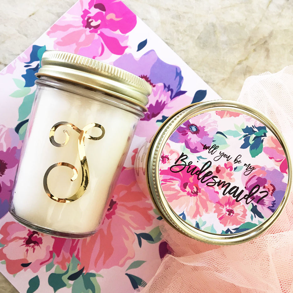 Will You Be My Bridesmaid Monogram Candle