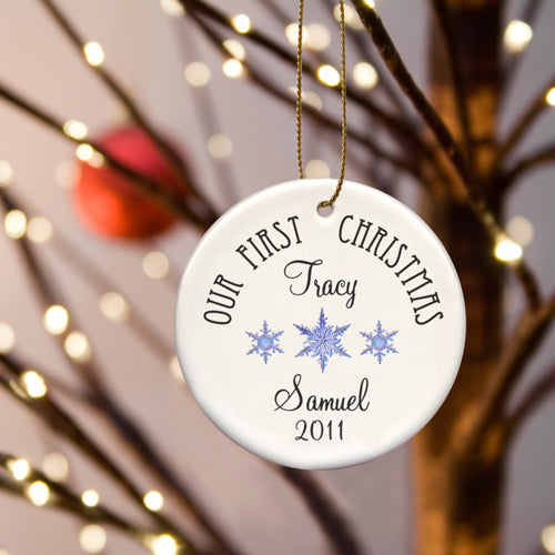 Personalized Our First Christmas Ornaments (In 8 Designs)