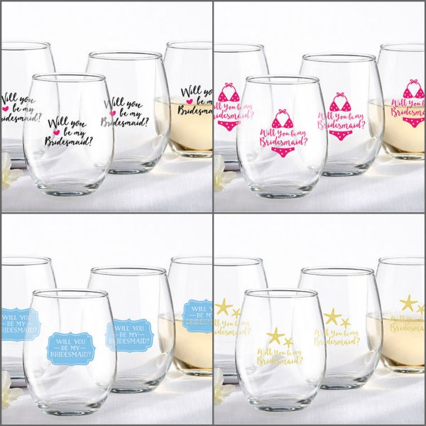 Will You Be My Bridesmaid? Stemless Wine Glasses (Set of 4)