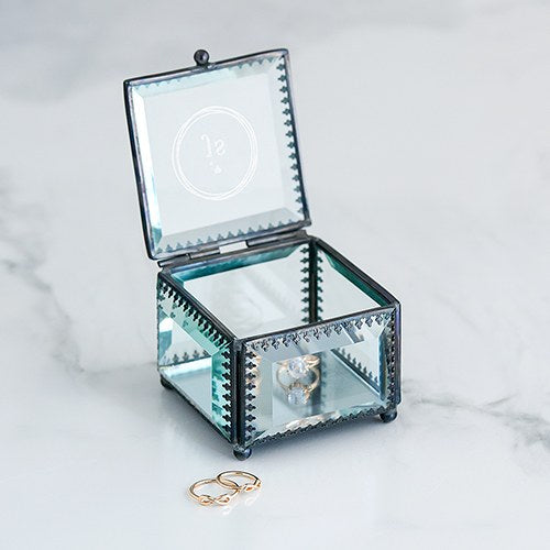Monogram Vintage Glass Jewelry Box