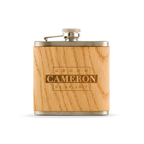 Groom Wood Wrapped Hip Flask