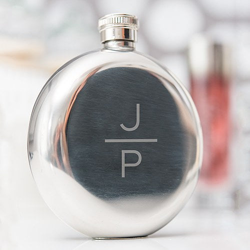 Stacked Monogram Round Silver Hip Flask