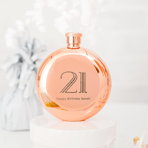 Vintage Glam Rose Gold Round Hip Flask