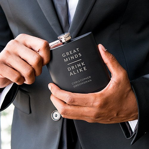 Great Minds Drink Alike Black Coated Hip Flask