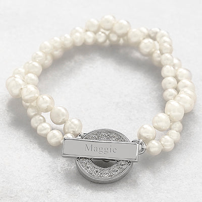 Pearl Bracelet with Rhinestone Toggle