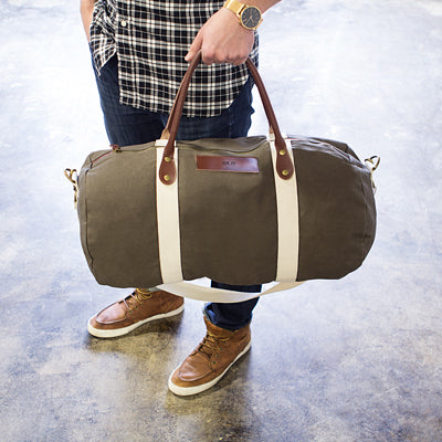 Personalized Canvas & Leather Duffle Bag (In 3 Colors)