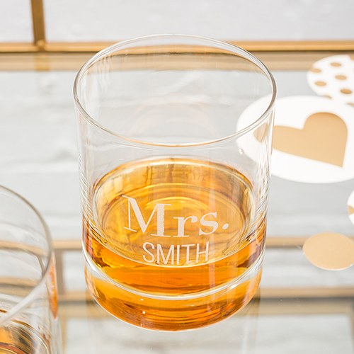 Etched Whiskey Glass
