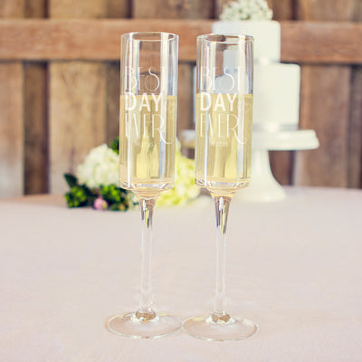 Best Day Ever 8 oz. Contemporary Champagne Flutes