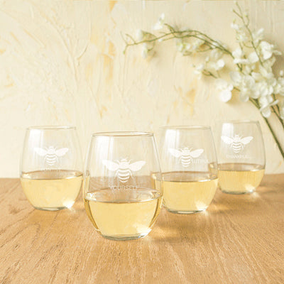 Bee Thankful 21 oz. Stemless Wine Glasses