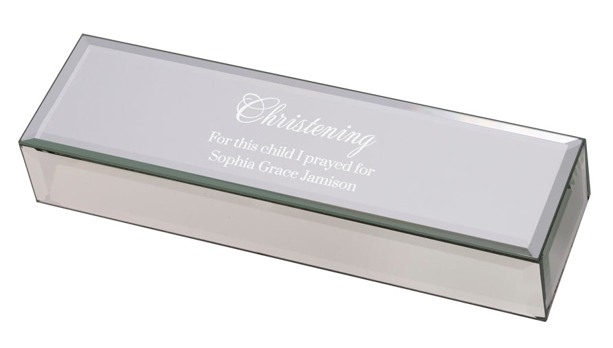 Personalized Mirrored Glass Christening Certificate Box