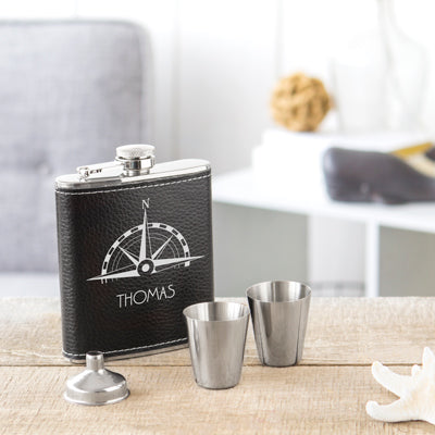 Compass Leather Wrapped Flask Set