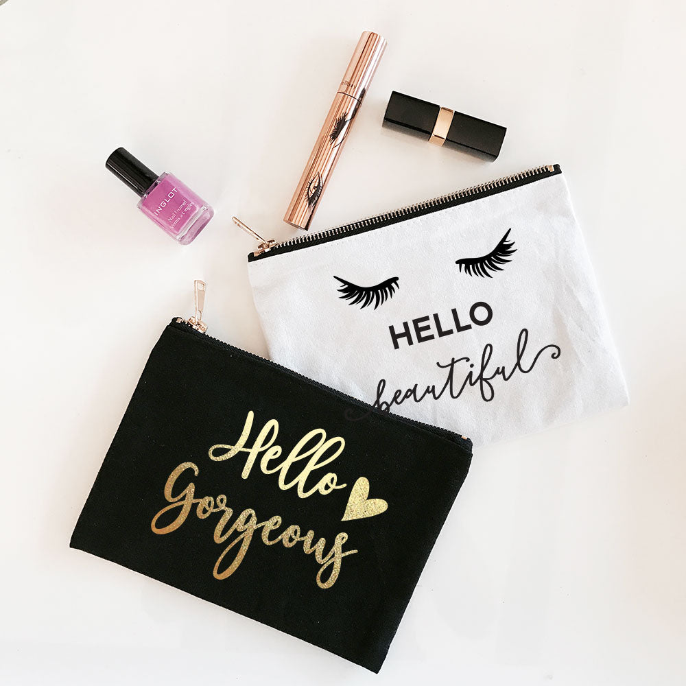 Hello Gorgeous / Hello Beautiful Cosmetic Bags