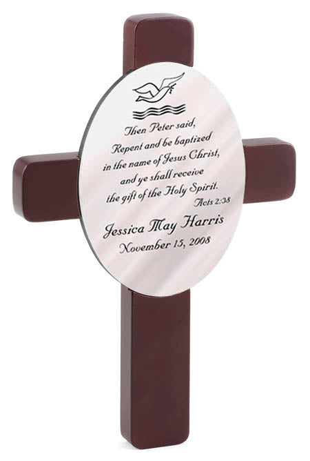 Personalized Baptism Cross with Bible Verse