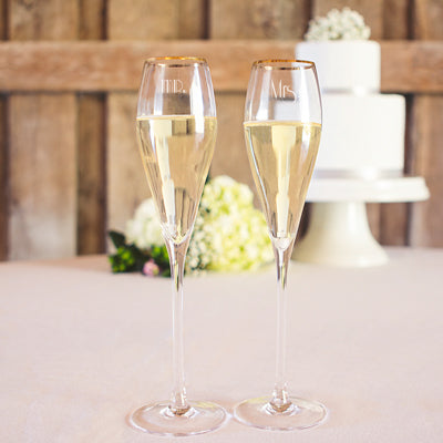 Mr. & Mrs. 7 oz. Gatsby Champagne Flutes