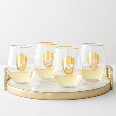 Gold Skull Stemless Wine Glasses