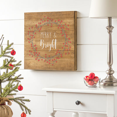 Merry & Bright Rustic Wood Sign