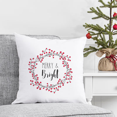 "16"" Merry and Bright Holiday Throw Pillow"