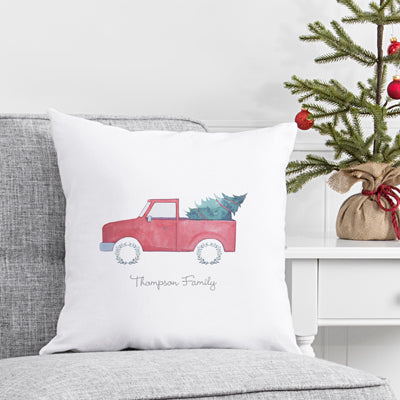 "Christmas Tree Truck 16"" Holiday Throw Pillow"