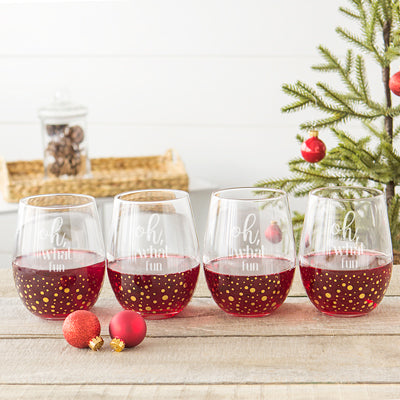 Oh What Fun 19.25 oz. Gold Dot Stemless Wine Glasses