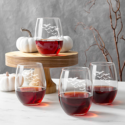 Colony of Bats 21 oz. Stemless Wine Glasses