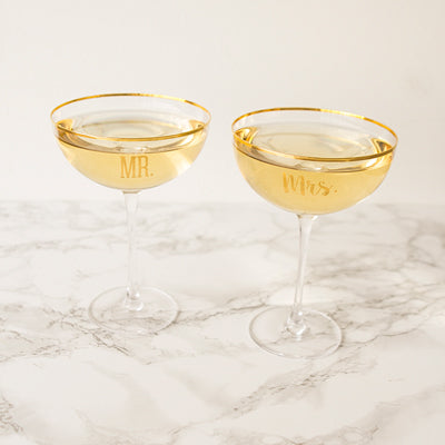 Mr. & Mrs. 8 oz. Gold Rim Coupe Flutes