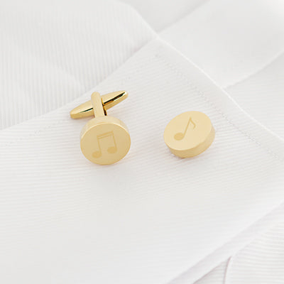 Music Notes Round Cuff Links