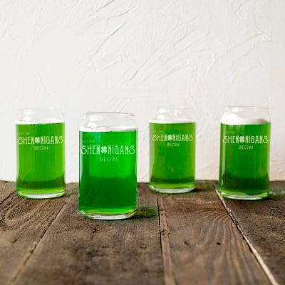 St. Patrick's Day Shenanigans 16 oz. Beer Can Glasses