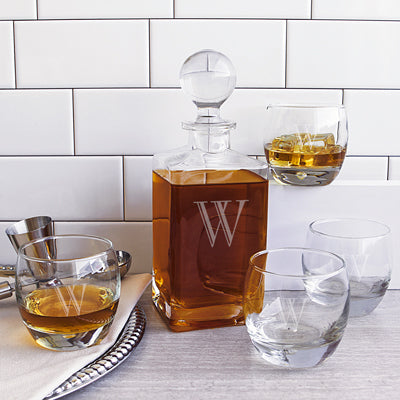 Monogrammed Square Whiskey Decanter Set