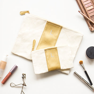 Gold Faux Leather Clutch Set