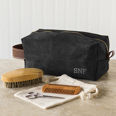 Men's Waxed Canvas and Leather Dopp Kit with Beard Grooming Set