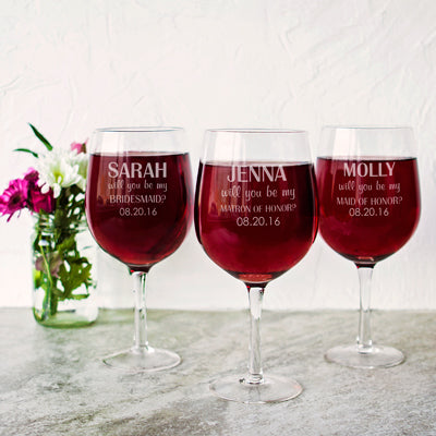 Will You Be My Bridesmaid? Personalized Wine Glass