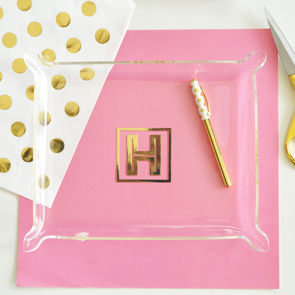 Gold Monogram Acrylic Tray