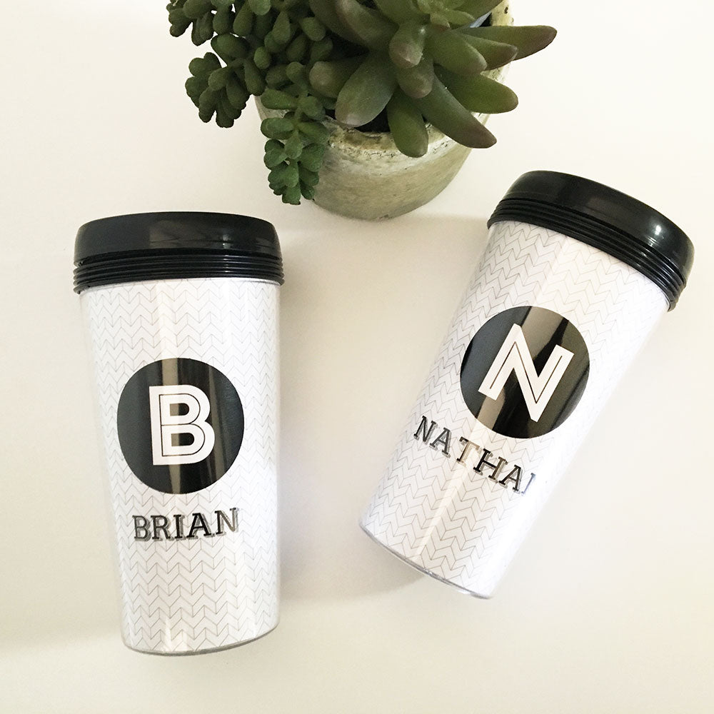 Personalized Black & White Travel Mug