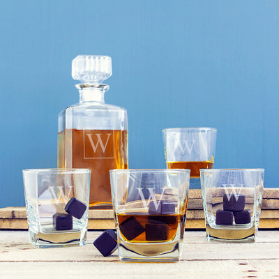 Personalized Decanter Set with Whiskey Stones