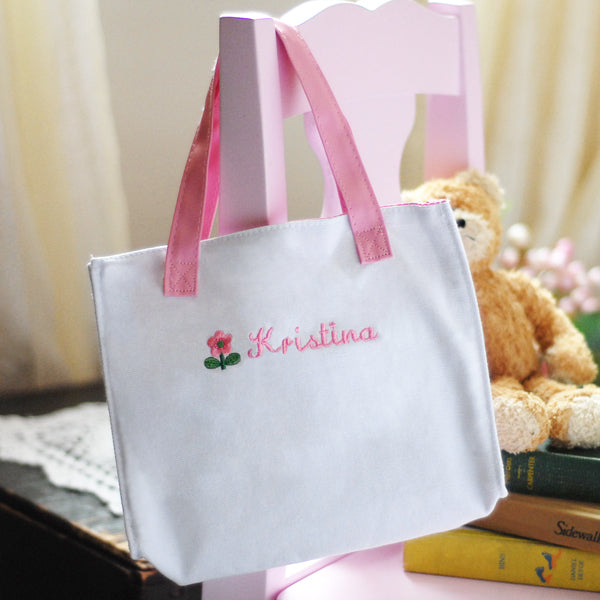 Personalized Embroidered Flower Girl Tote Bag