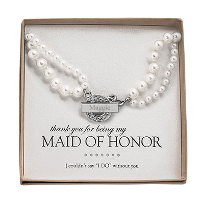 Pearl Necklace with Rhinestone Toggle