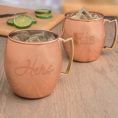 His & Hers Moscow Mule Copper Mugs