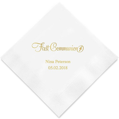 Personalized Communion Printed Paper Napkins