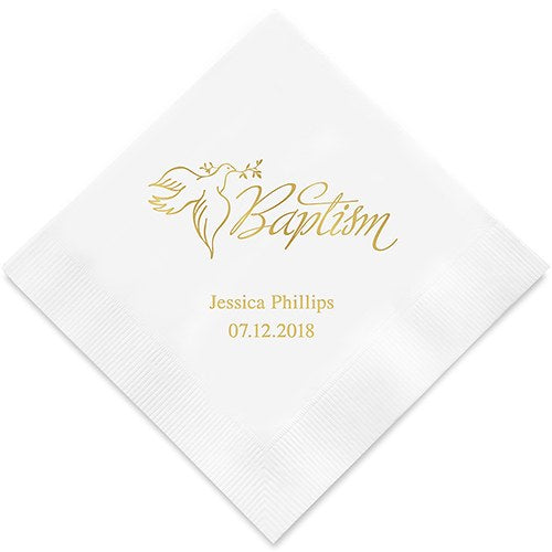 Personalized Baptism Printed Paper Napkins