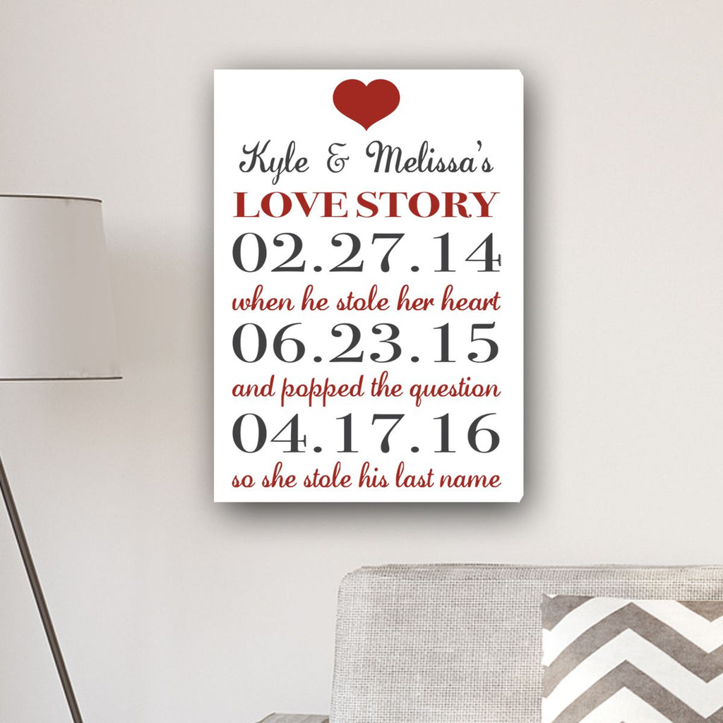 Personalized Our Love Story Canvas Print Wall Art